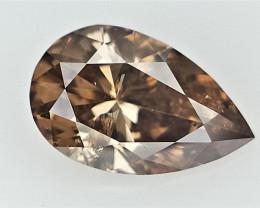 0.30 cts  ,Loose Brown Diamond , Sparkling Pear Brilliant Diamond