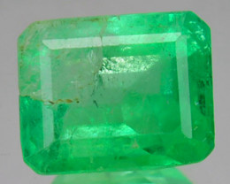 1.14Cts Natural Vivid Green Emerald Octagon Cut Colombia