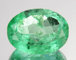 1.54Cts Natural Vivid Green Emerald Oval Cut Colombia