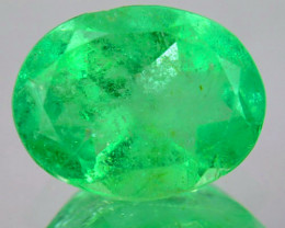 1.40Cts Natural Vivid Green Emerald Oval Cut Colombia