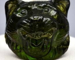 Rare! 22.55ct Smiling Tiger Face Caving Natural Green Tourmaline Unheated