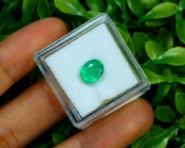1.39Ct Oval Cut Natural Zambian Green Color Emerald Box A2707