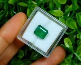 2.88Ct Octagon Cut Natural Zambian Green Color Emerald Box A2719