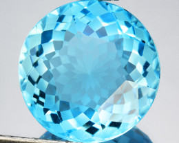 ~CUSTOM CUT~ 16.58 Cts Natural Baby Blue Topaz Fancy Round USA