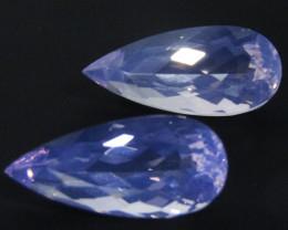 17.68Cts Genuine Amazing Elegant  Long Pear  Lavender Color Quartz Pair REF