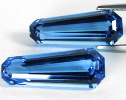 16.48Cts Stunning  Natural Swiss Blue Topaz Fancy  Cut Matching Pair VIDEO