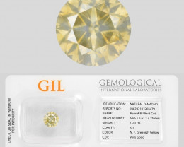 Diamond 1.20 Cts GIL Certified  Greenish Yellow Color Natural