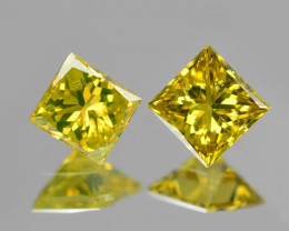 *NoReserve*Diamond 0.17 Cts 2Pcs Rare Yellow-Green Color Natural VS Clarity