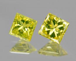 *NoReserve*Diamond 0.13 Cts 2Pcs Rare Yellow-Green Color Natural VS Clarity