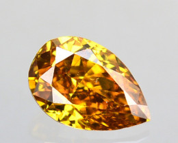0.09 Cts Natural Untreated Diamond Golden Yellow Pear Cut Africa