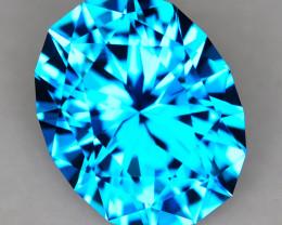 CUSTOM CUT - 9.82ct ELECTRIC BLUE TOPAZ - BRAZIL - # JDS1195