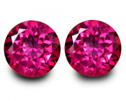 6.66Cts Genuine Amazing Natural Pink Topaz 9mm Round Shape Matching Pair