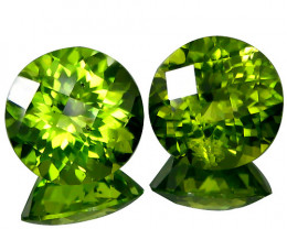 3.85Cts Genuine Excellent Natural Peridot 8mm Round Checker Cut Matching Pa