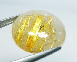 30.83 Ct Top Quality Gem  Round Cut Natural Golden Rutile Quartz