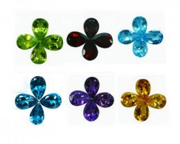 10.67 Cts Natural Semi Precious Mix Stones 6x4mm Pear 24Pcs Parcel