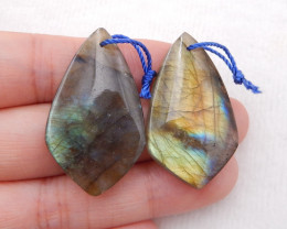 D1368 - 52.5cts Natural Labradorite Drilled Earrings Bead, stone for earrin