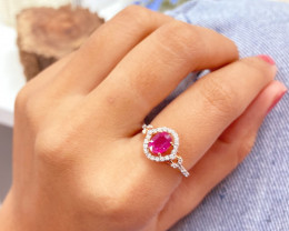 Unheated Ruby 14K Pink Rose Gold Diamond Ring EM152