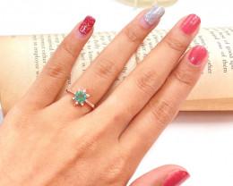 Zambian Emerald 14K Pink Rose Gold Diamond Ring EM163