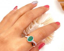Zambian Emerald 14K Pink Rose Gold Diamond Ring EM167