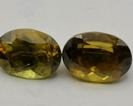 Sphene pair, 1.9ct, really beautiful stones with an awesome range of colour
