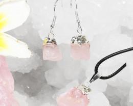 Raw Rose Quartz Points Electroformed Pendant and Earring - BRERQ Set 1
