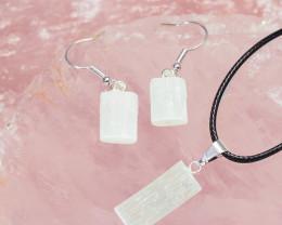 Raw Selenite Pendant and Earring - BRASEL - Set 1