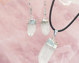 Raw Crystal Points Pendant and Earring Pack - BRECR - Set 4