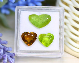 Sphene 6.87Ct 3Pcs Heart Cut Natural Rainbow Flash Green Sphene A2921