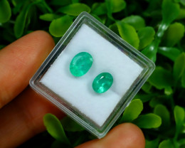 Emerald 2.16Ct 2Pcs Oval Cut Natural Zambian Green Emerald Box A2933