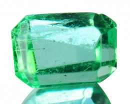 Natural Vivid Green Emerald Octagon Cut Colombia 0.35 Cts