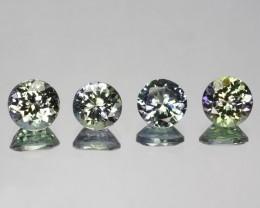 2.87 Cts Natural Tanzanite Double Shade Blue-Green Round 4 Pcs