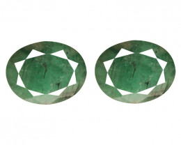6.38 Cts Paired Natural Green Colombian Emerald Gemstone