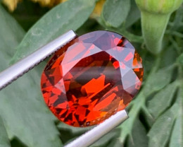 IF 8.15 CT Beautiful Color Oval Cushion Cut Hessonite Garnet from Africa