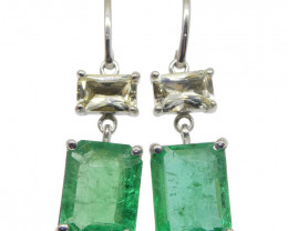 5.06ct Emerald & Yellow Sapphire Earrings set in 14kt White Gold