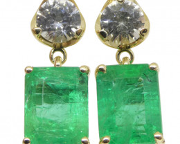5.48ct Emerald & White Sapphire Earrings set in 14kt Yellow Gold