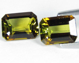 3.11Cts Beautiful Natural owlish Color Color Tourmaline Emerald Cut  Pair V