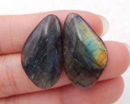 D1398 - 25.5cts Natural Labradorite Cabochon Pairs , Labradorite Stones Loo