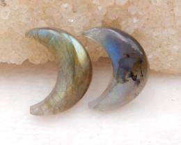 D1399 - 21.5cts Natural Labradorite Cabochon Pairs , Labradorite Stones Moo
