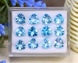 Blue Topaz 23.46Ct Trillion Cut Natural Swiss Blue Topaz Lot Box C0106