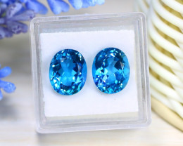 Blue Topaz 10.24Ct VS 2Pcs Oval Cut Natural London Blue Topaz B0230