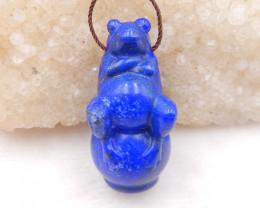 i083 - 111cts Hand Carved Frog Pendant ,Lapis Lazuli Frog ,Frog Pendant