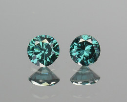 0.09 Cts Natural Electric Blue Diamond 2.2 - 2.1mm Round 2Pcs Africa