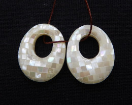 i089 - 23.5cts natural shell earrings pair,natural gemstone shell beads