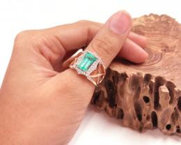 Colombian Emerald 14K Pink Rose Gold Diamond Ring EM17