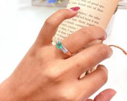 Zambian Emerald 14K Pink Rose Gold Diamond Ring EM173