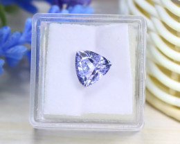 3.19Ct VVS Trillion Cut Natural Unheated Light Violet Blue Tanzanite A0330