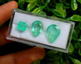 Emerald 9.52Ct 3Pcs Colombian Muzo Emerald Neon Mint Green Beryl C0302