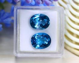 Blue Topaz 9.53Ct VVS 2Pcs Oval Cut Natural London Blue Topaz C0307