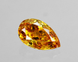 ~UNTREATED~ 0.09 Cts Natural Diamond Fancy Orange Pear Cut Africa