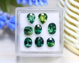 Sapphire 6.36Ct VS 8Pcs Natural Australian Teal Sapphire Box B0419